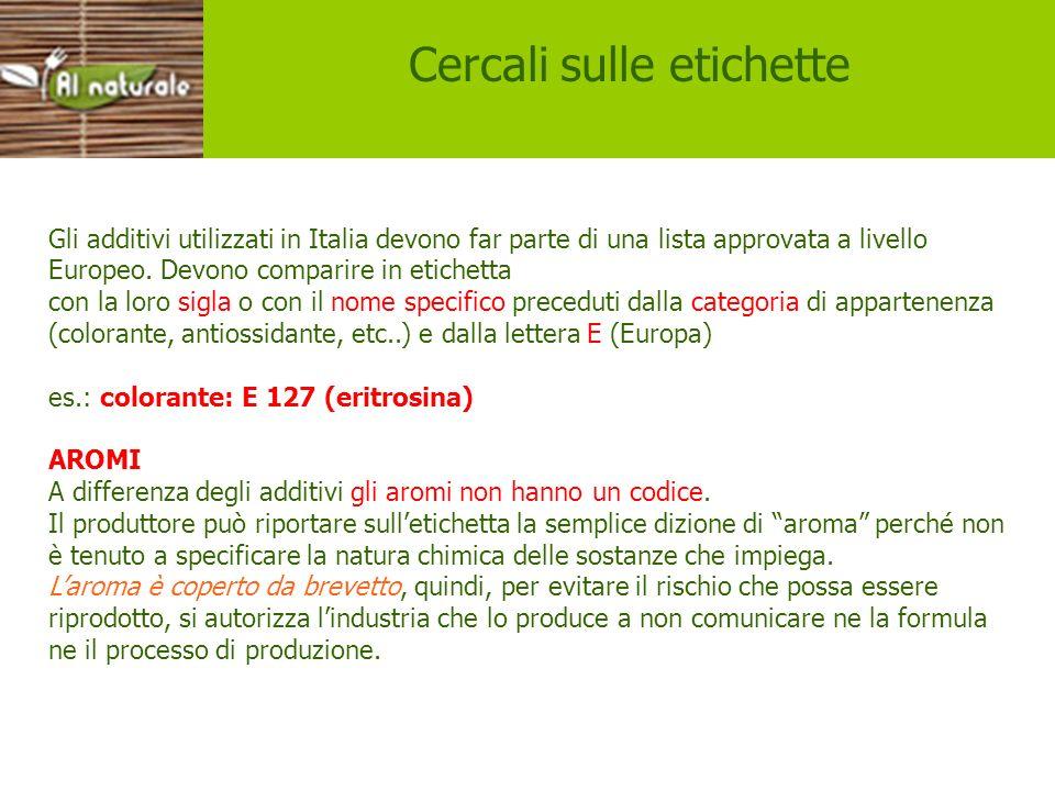 Etichette Gli additivi utilizzati in Italia devono far parte di una lista approvata a livello Europeo. Devono comparire in etichetta con la loro sigla