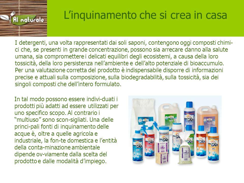 Inquinamento in casa Linquinamento che si crea in casa I detergenti, una volta rappresentati dai soli saponi, contengono oggi composti chimi- ci che,
