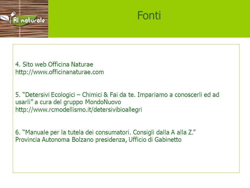 4. Sito web Officina Naturae http://www.officinanaturae.com 5. Detersivi Ecologici – Chimici & Fai da te. Impariamo a conoscerli ed ad usarli a cura d
