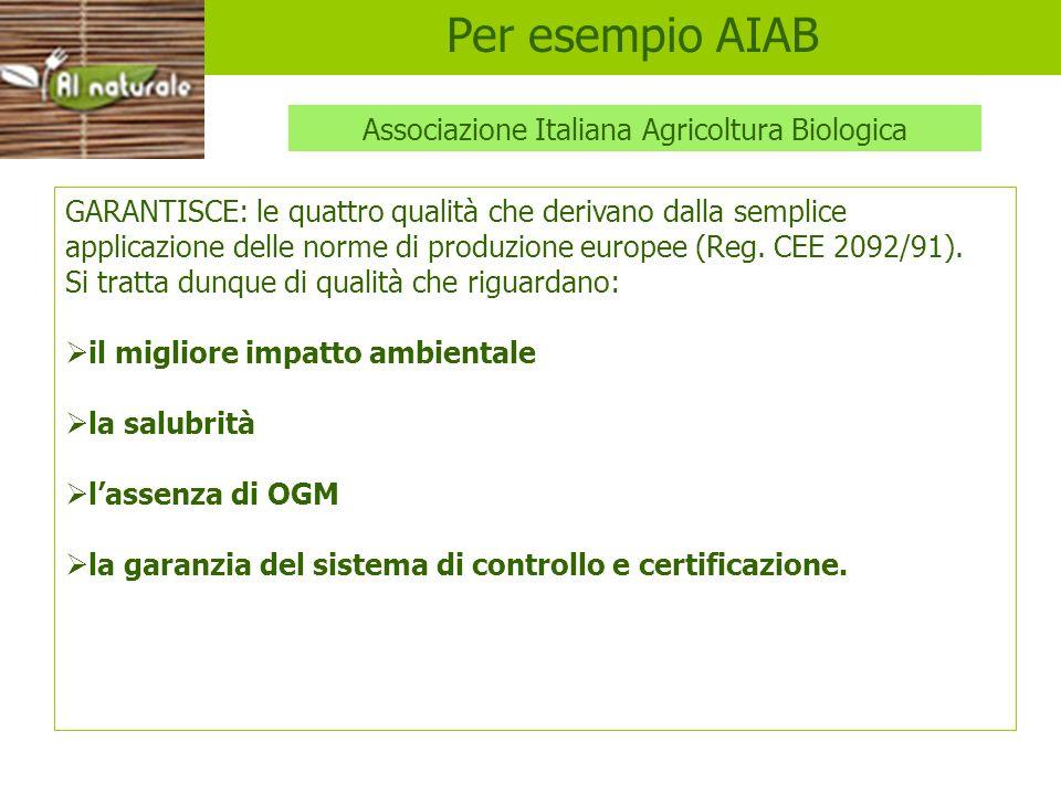 AIAB GARANTISCE: le quattro qualità che derivano dalla semplice applicazione delle norme di produzione europee (Reg. CEE 2092/91). Si tratta dunque di