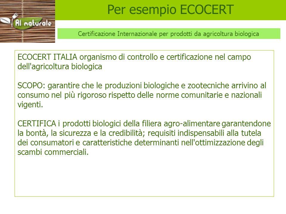 ECOCERT ECOCERT ITALIA organismo di controllo e certificazione nel campo dell'agricoltura biologica SCOPO: garantire che le produzioni biologiche e zo