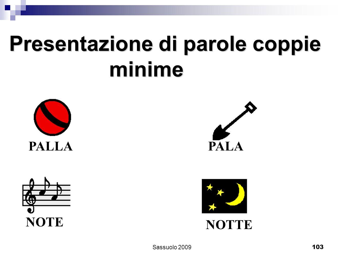 103 Presentazione di parole coppie minime minime PALLA PALANOTE NOTTE Sassuolo 2009