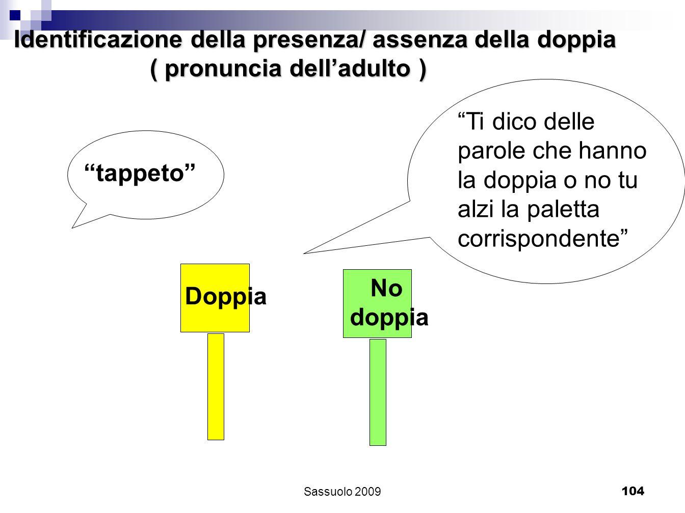 104 Identificazione della presenza/ assenza della doppia ( pronuncia delladulto ) ( pronuncia delladulto ) Doppia No doppia Ti dico delle parole che h