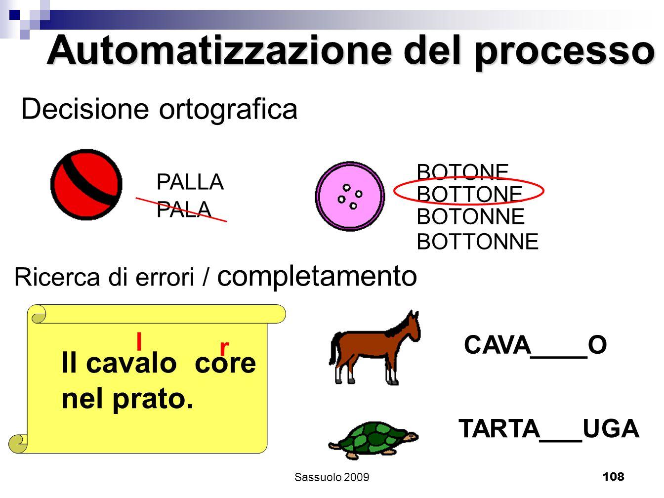 108 PALLA PALA Decisione ortografica BOTONE BOTTONE BOTONNE BOTTONNE Il cavalo core nel prato. l r Automatizzazione del processo Ricerca di errori / c