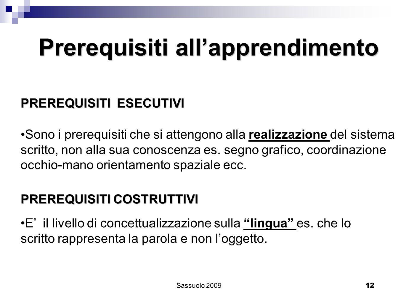12 PREREQUISITI ESECUTIVI Sono i prerequisiti che si attengono alla realizzazione del sistema scritto, non alla sua conoscenza es. segno grafico, coor