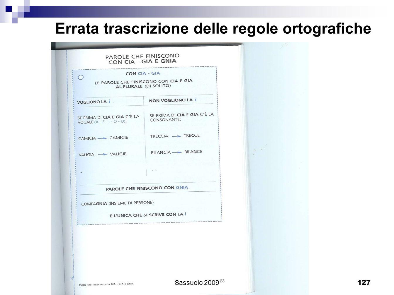 127 Errata trascrizione delle regole ortografiche Sassuolo 2009