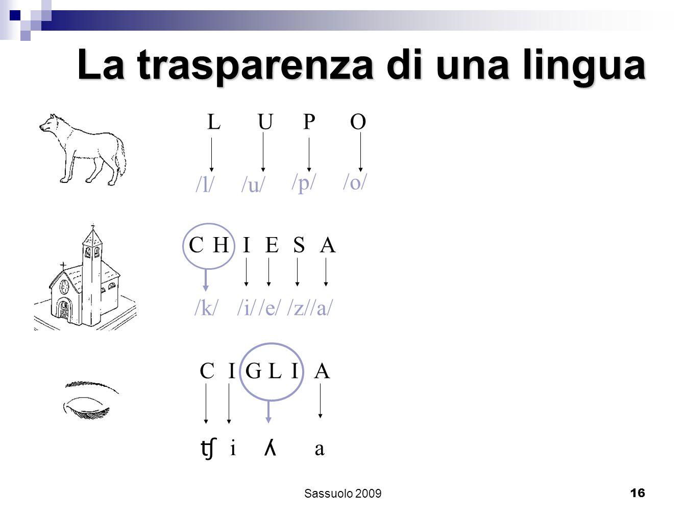16 La trasparenza di una lingua L /l/ U /u/ P /p/ O /o/ CHIESA /k//i//e//z//a/ CIGLIA ʧ i ʎ a Sassuolo 2009