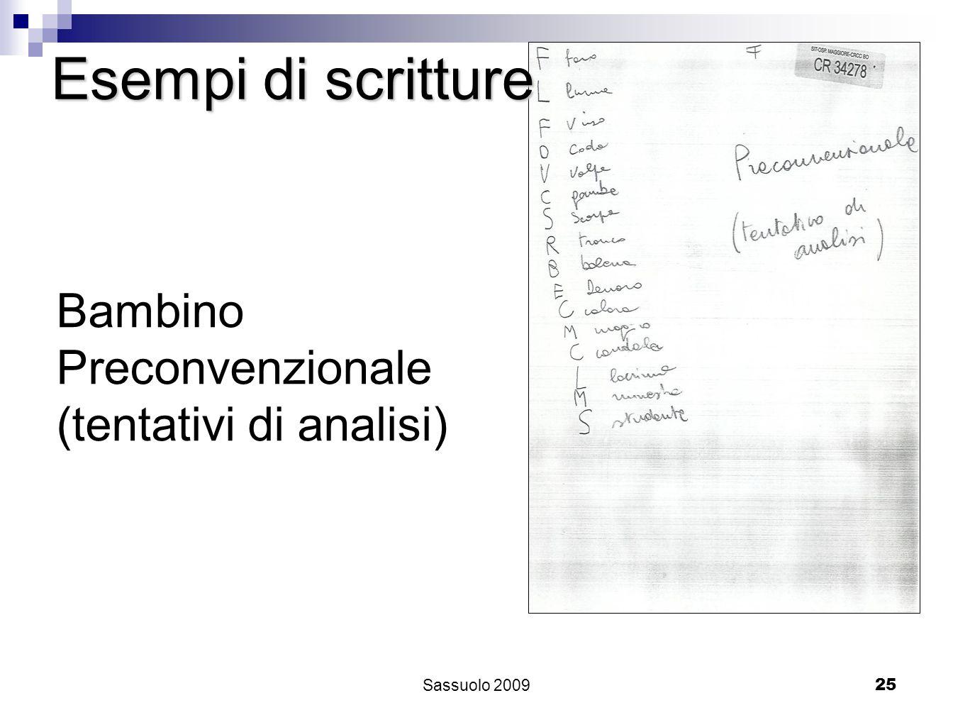 25 Esempi di scritture Bambino Preconvenzionale (tentativi di analisi) Sassuolo 2009