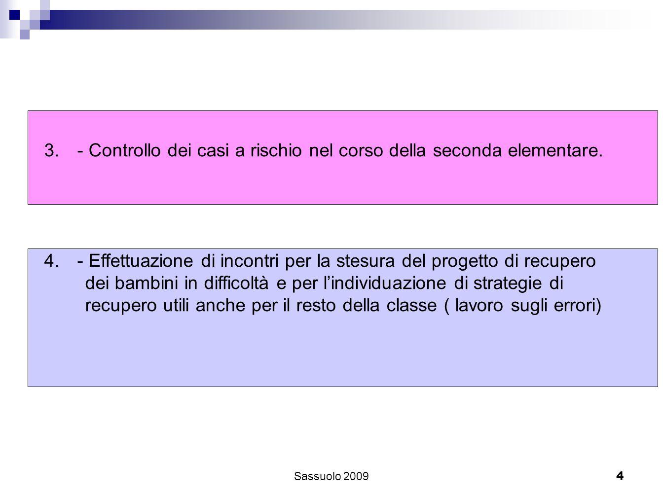 4 3.- Controllo dei casi a rischio nel corso della seconda elementare. 4.- Effettuazione di incontri per la stesura del progetto di recupero dei bambi