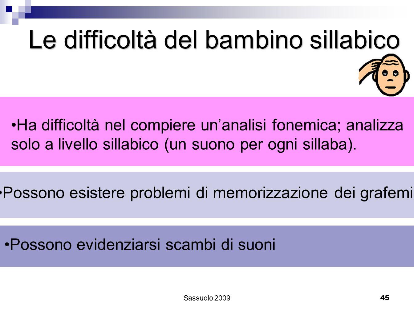 45 Le difficoltà del bambino sillabico Ha difficoltà nel compiere unanalisi fonemica; analizza solo a livello sillabico (un suono per ogni sillaba). P