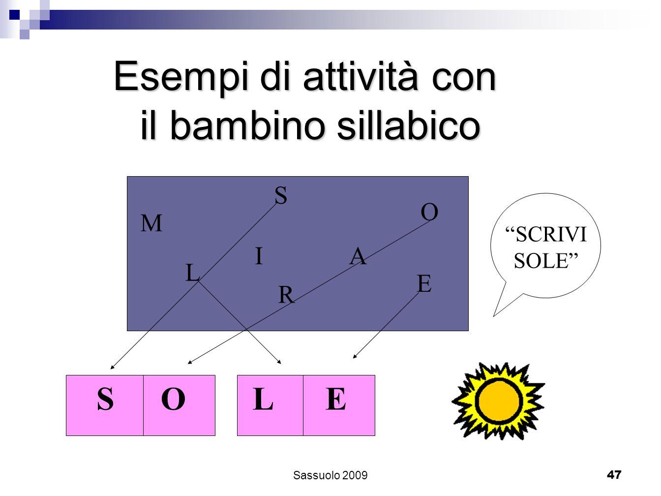 47 Esempi di attività con il bambino sillabico M S L AI O E R SCRIVI SOLE SOLE Sassuolo 2009