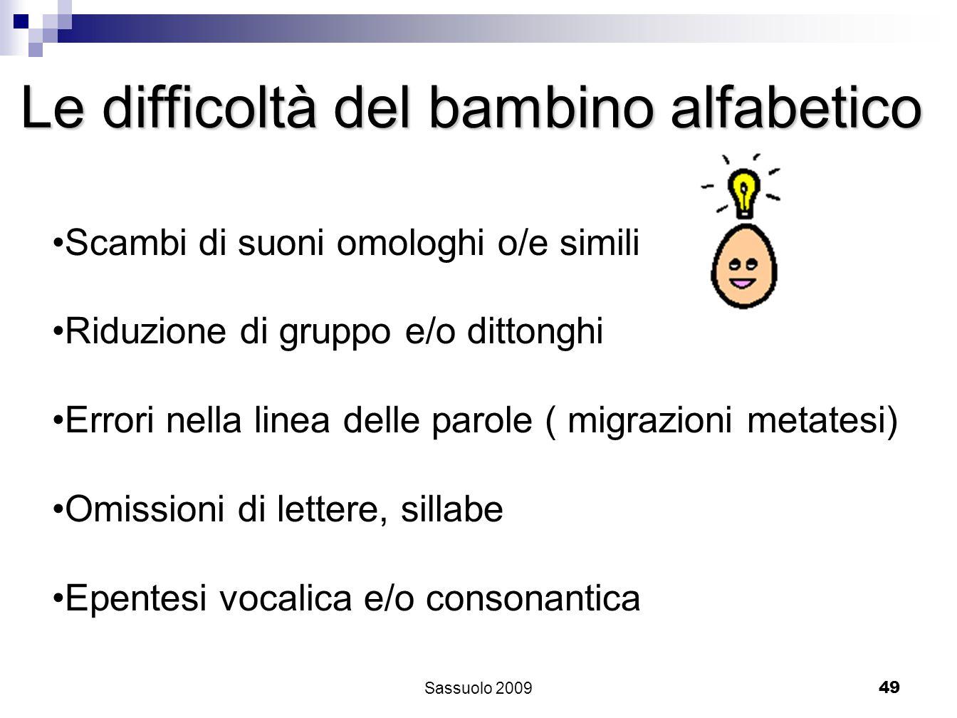 49 Le difficoltà del bambino alfabetico Scambi di suoni omologhi o/e simili Riduzione di gruppo e/o dittonghi Errori nella linea delle parole ( migraz