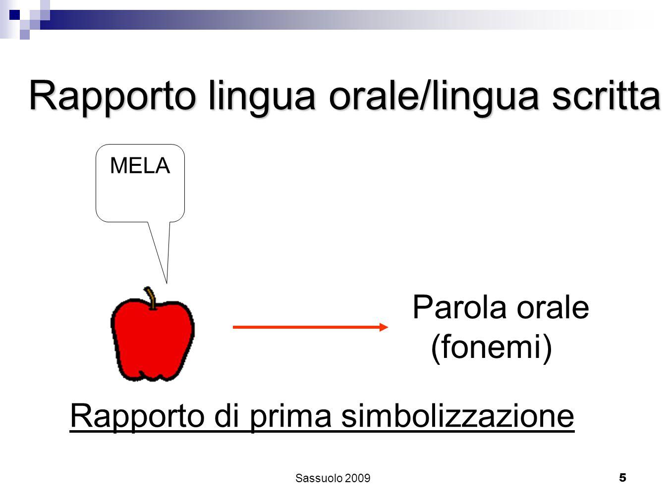 5 Rapporto di prima simbolizzazione Parola orale (fonemi) MELA Rapporto lingua orale/lingua scritta Sassuolo 2009