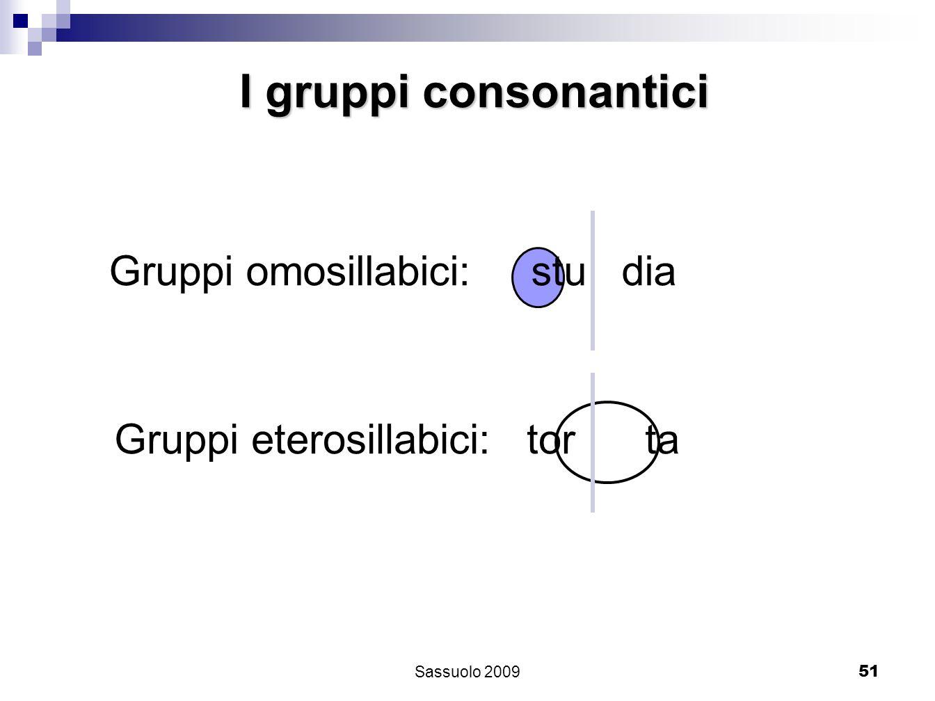 51 I gruppi consonantici Gruppi omosillabici: stu dia Gruppi eterosillabici: tor ta Sassuolo 2009