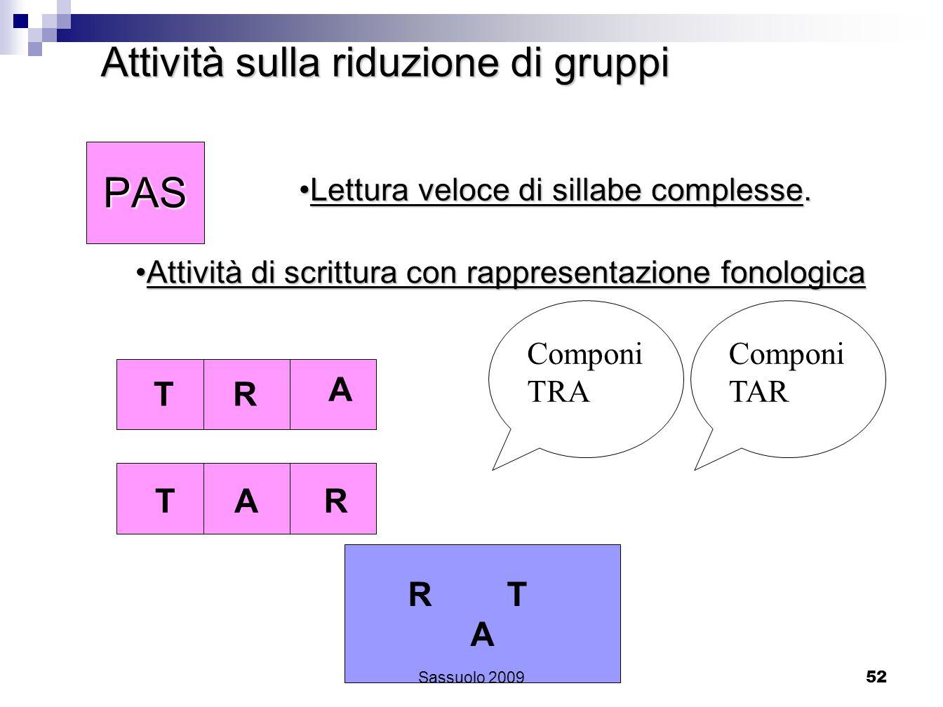 52 Attività sulla riduzione di gruppi TRA SPA TARPAS Lettura veloce di sillabe complesse.Lettura veloce di sillabe complesse. Attività di scrittura co