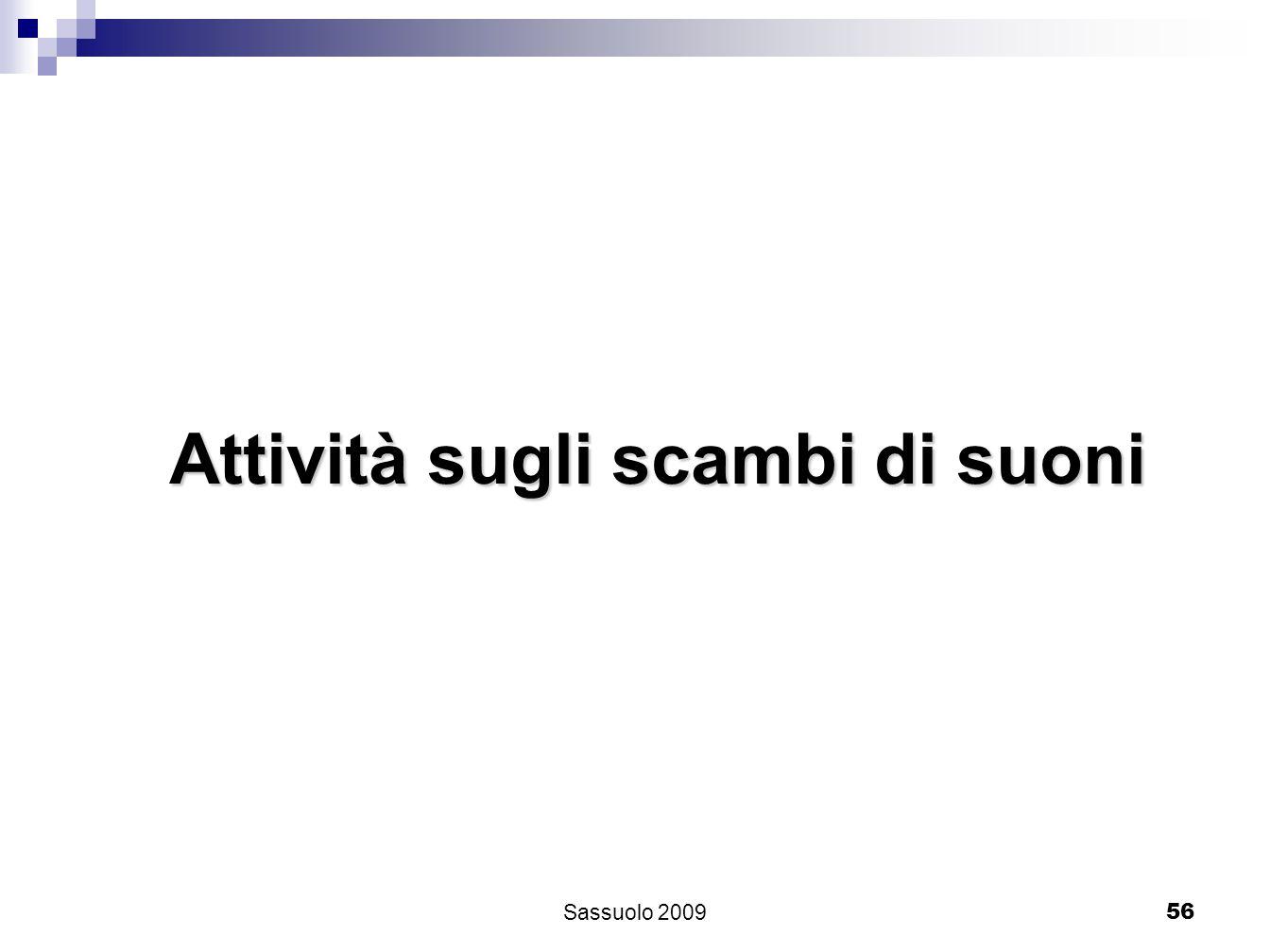 56 Attività sugli scambi di suoni Sassuolo 2009