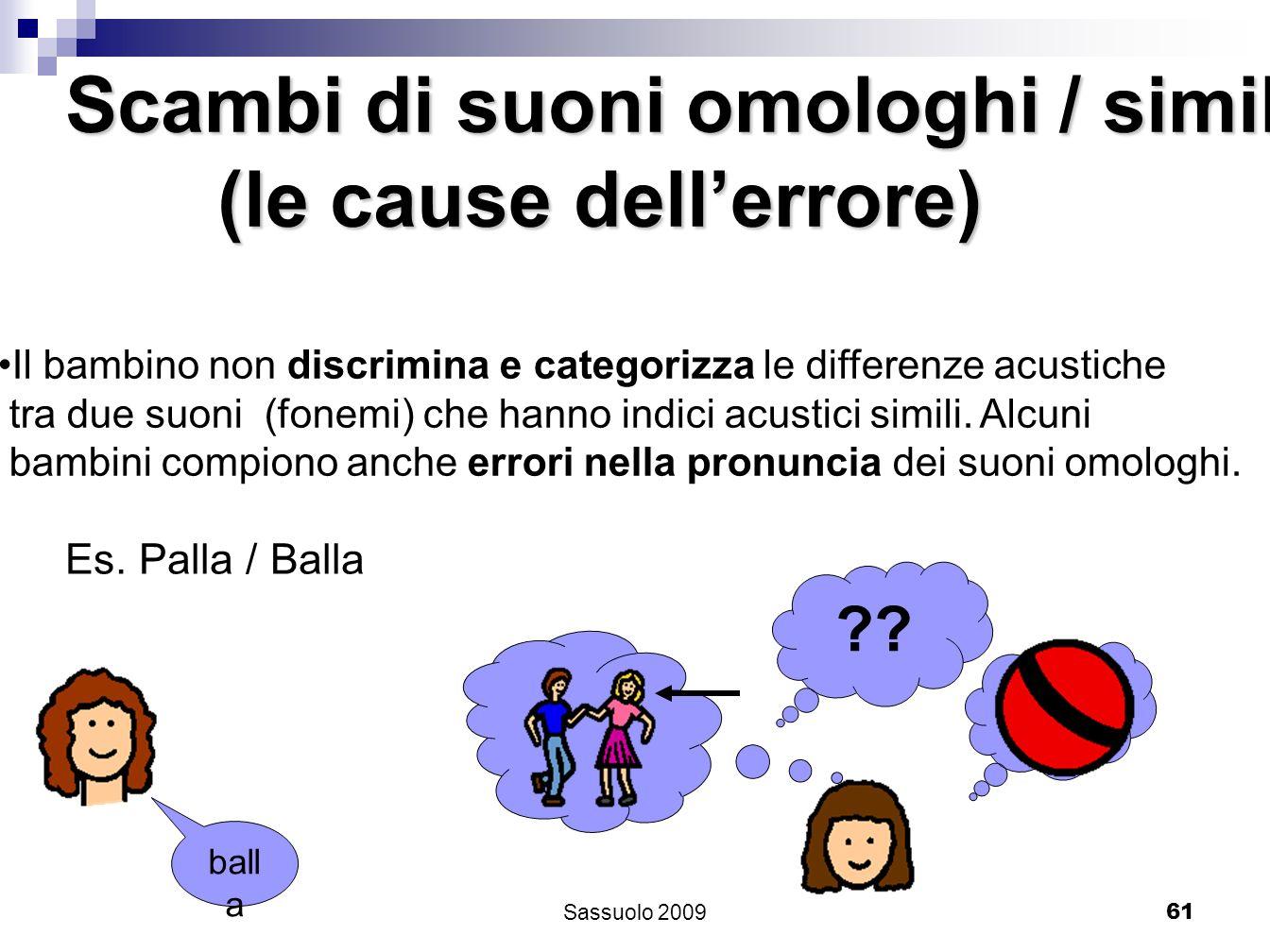 61 Scambi di suoni omologhi / simili (le cause dellerrore) (le cause dellerrore) Il bambino non discrimina e categorizza le differenze acustiche tra d