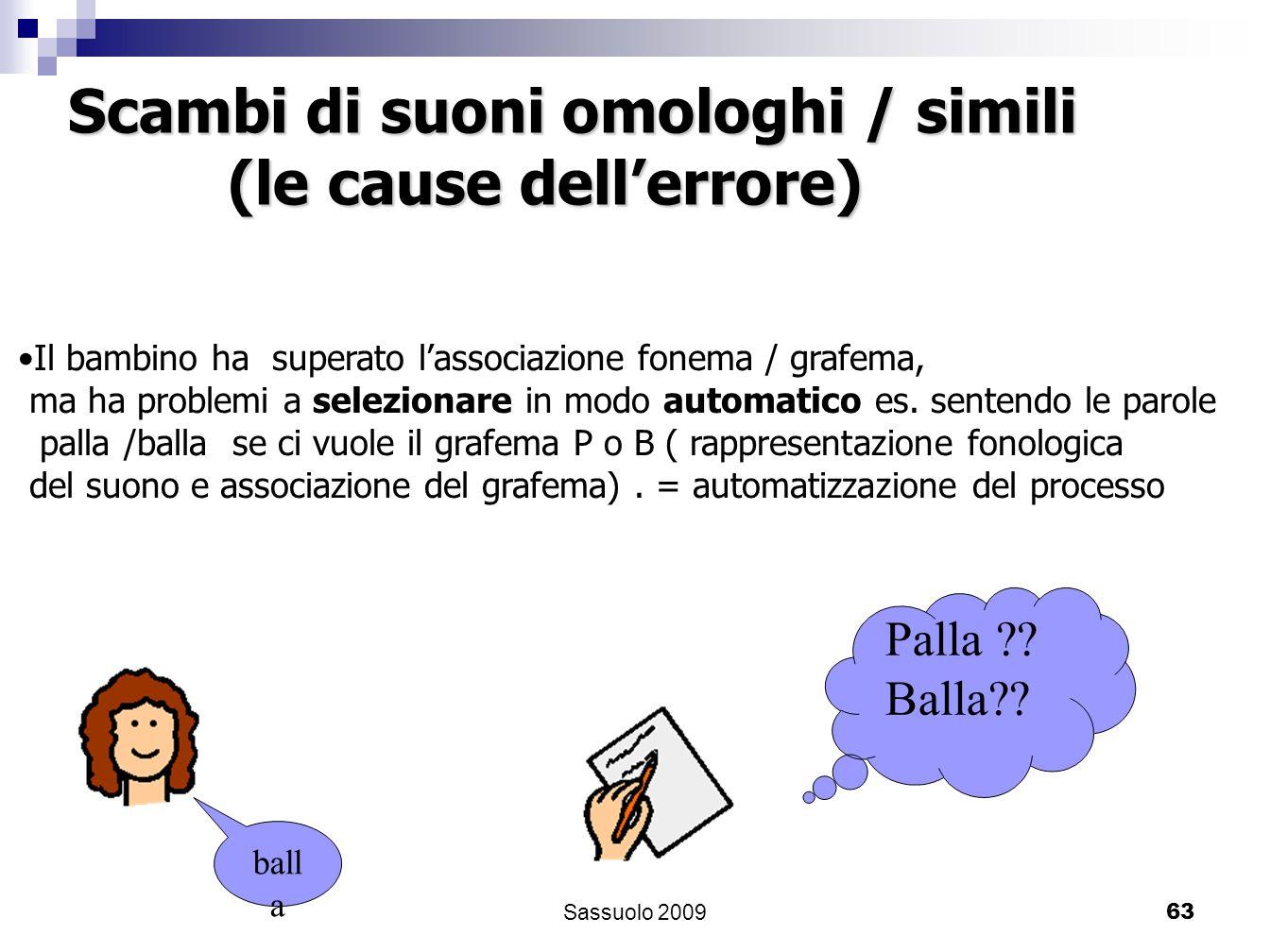 63 Il bambino ha superato lassociazione fonema / grafema, ma ha problemi a selezionare in modo automatico es. sentendo le parole palla /balla se ci vu