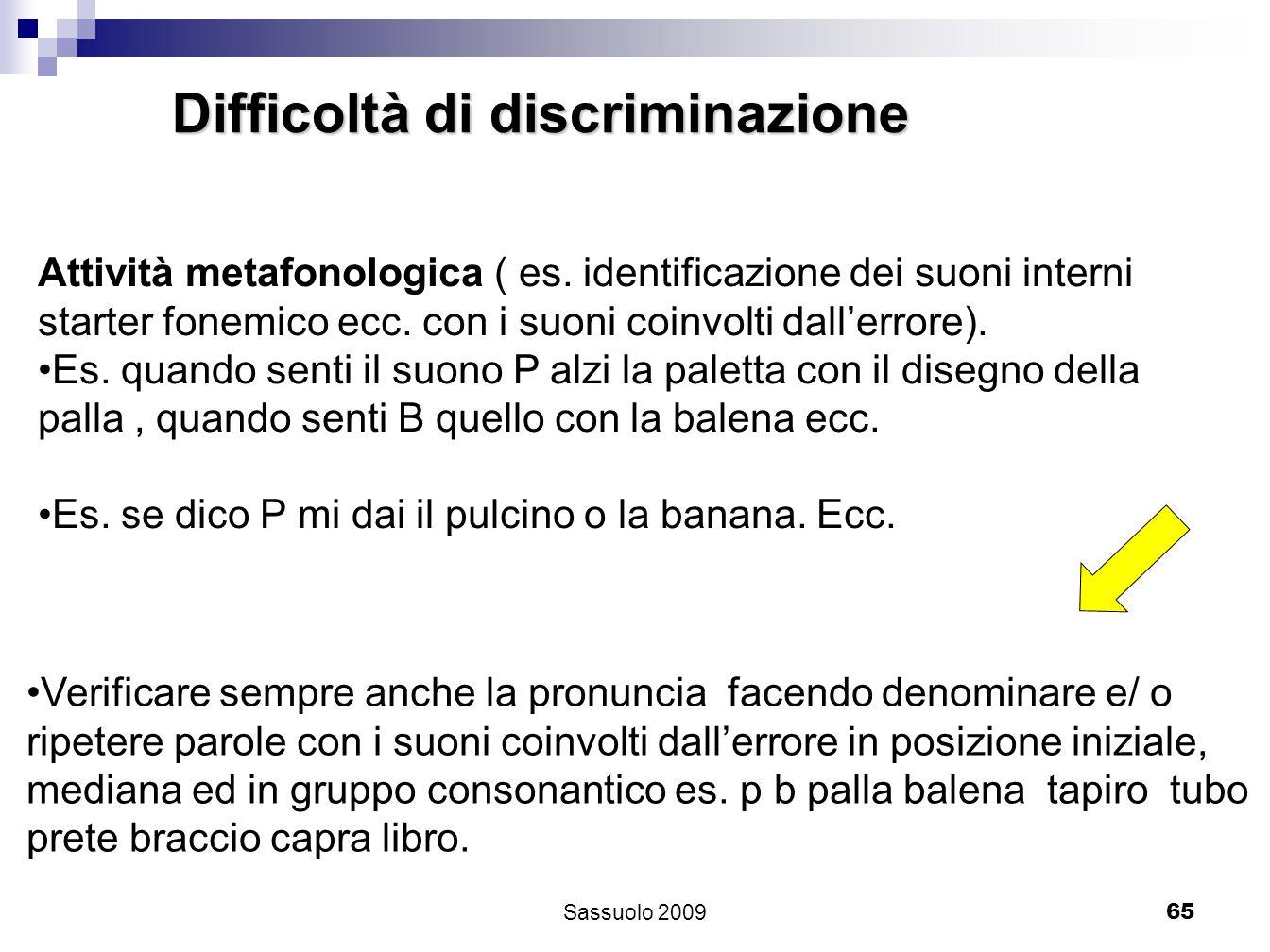 65 Difficoltà di discriminazione Attività metafonologica ( es. identificazione dei suoni interni starter fonemico ecc. con i suoni coinvolti dallerror