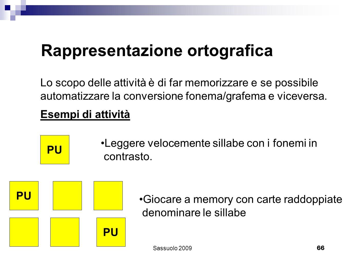 66 Rappresentazione ortografica Lo scopo delle attività è di far memorizzare e se possibile automatizzare la conversione fonema/grafema e viceversa. E