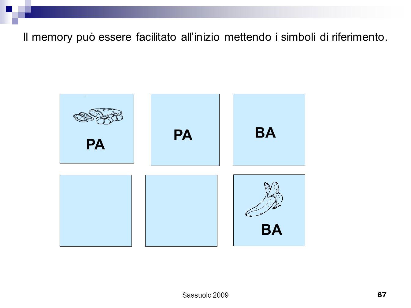 67 PA BA Il memory può essere facilitato allinizio mettendo i simboli di riferimento. Sassuolo 2009