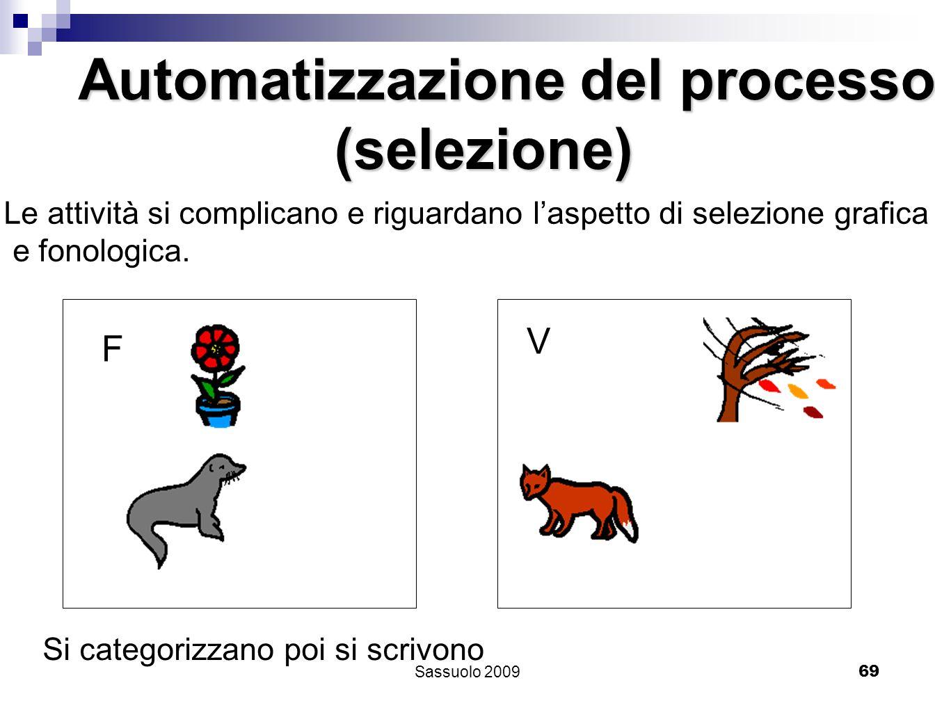 69 Automatizzazione del processo (selezione) (selezione) Le attività si complicano e riguardano laspetto di selezione grafica e fonologica. F V Si cat