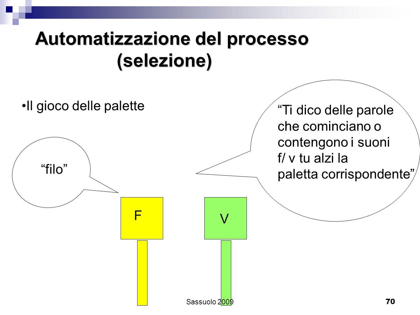 70 Automatizzazione del processo (selezione) (selezione) Il gioco delle palette Ti dico delle parole che cominciano o contengono i suoni f/ v tu alzi