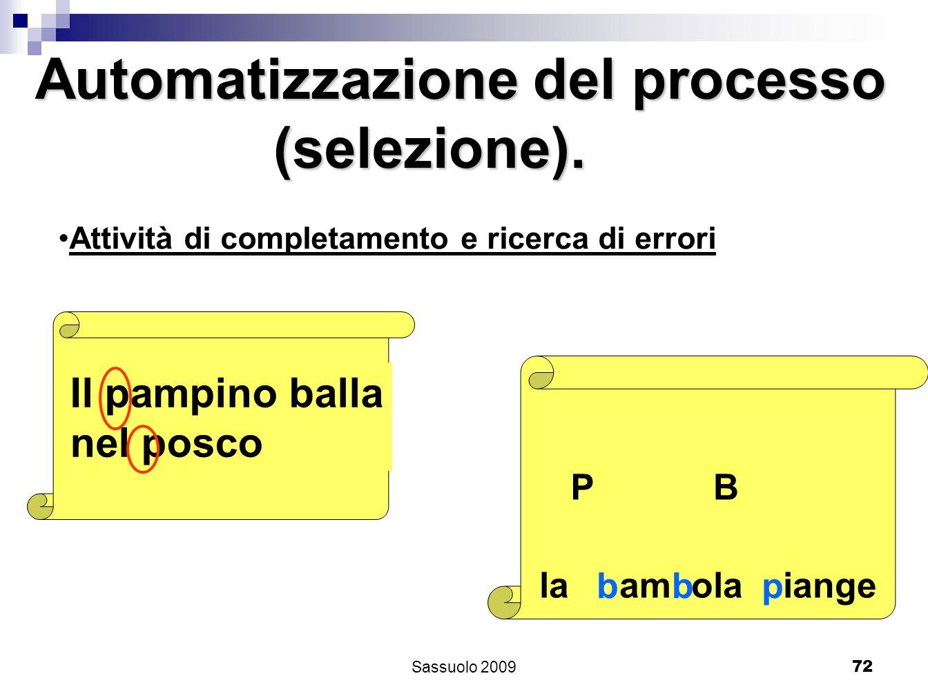 72 Attività di completamento e ricerca di errori Il pampino balla nel posco PB la am ola iange bbp Automatizzazione del processo (selezione). (selezio