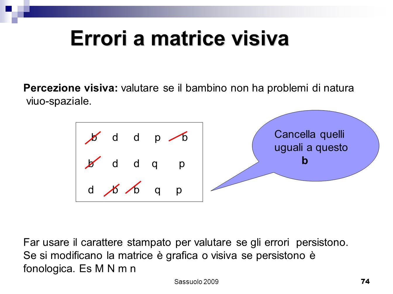 74 Errori a matrice visiva Percezione visiva: valutare se il bambino non ha problemi di natura viuo-spaziale. b d d p b b d d q p d b b q p Cancella q