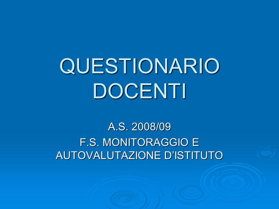 QUESTIONARIO DOCENTI A.S. 2008/09 F.S. MONITORAGGIO E AUTOVALUTAZIONE DISTITUTO