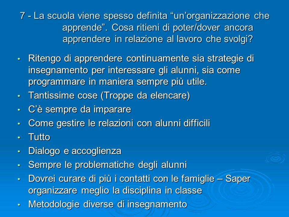 7 - La scuola viene spesso definita unorganizzazione che apprende. Cosa ritieni di poter/dover ancora apprendere in relazione al lavoro che svolgi? Ri