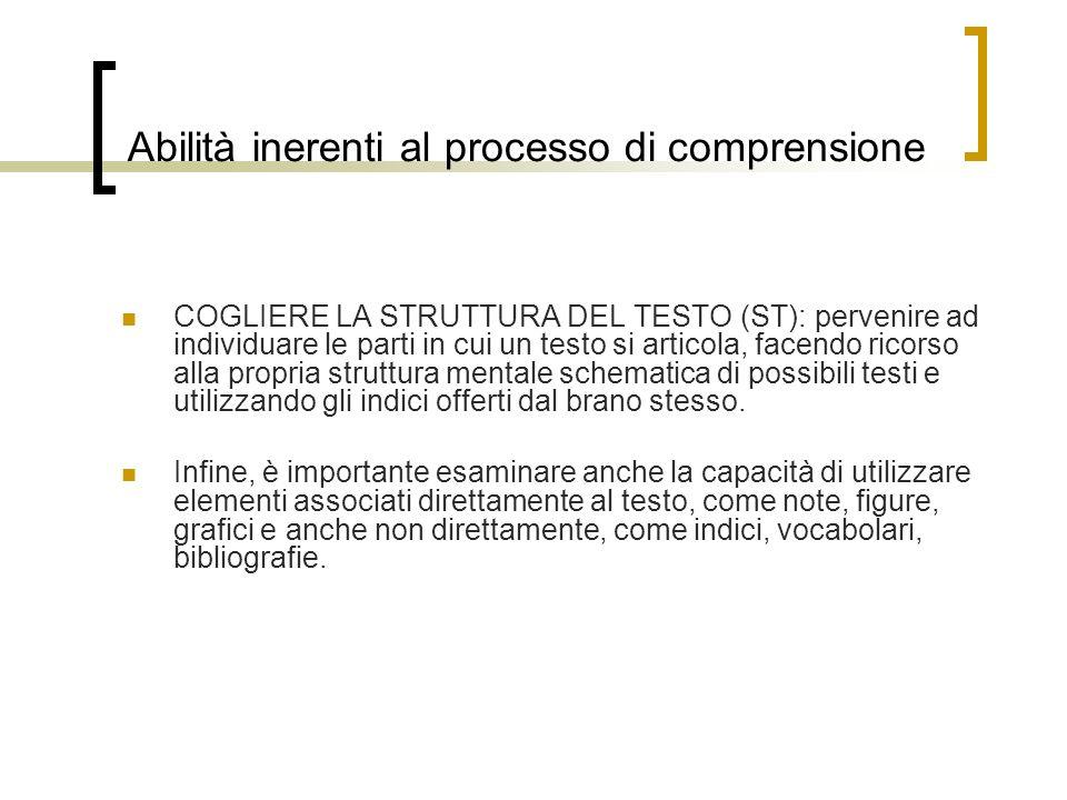 Abilità inerenti al processo di comprensione COGLIERE LA STRUTTURA DEL TESTO (ST): pervenire ad individuare le parti in cui un testo si articola, face