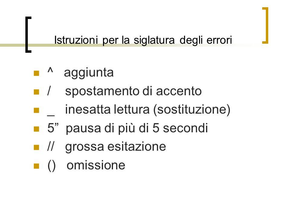 Istruzioni per la siglatura degli errori ^ aggiunta / spostamento di accento _ inesatta lettura (sostituzione) 5 pausa di più di 5 secondi // grossa e