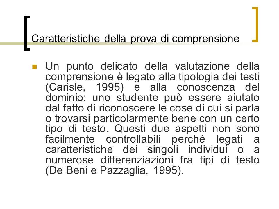 Caratteristiche della prova di comprensione Un punto delicato della valutazione della comprensione è legato alla tipologia dei testi (Carisle, 1995) e
