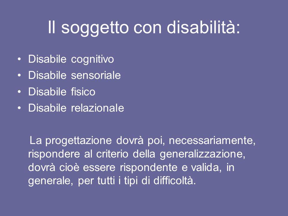 Il soggetto con disabilità: Disabile cognitivo Disabile sensoriale Disabile fisico Disabile relazionale La progettazione dovrà poi, necessariamente, r