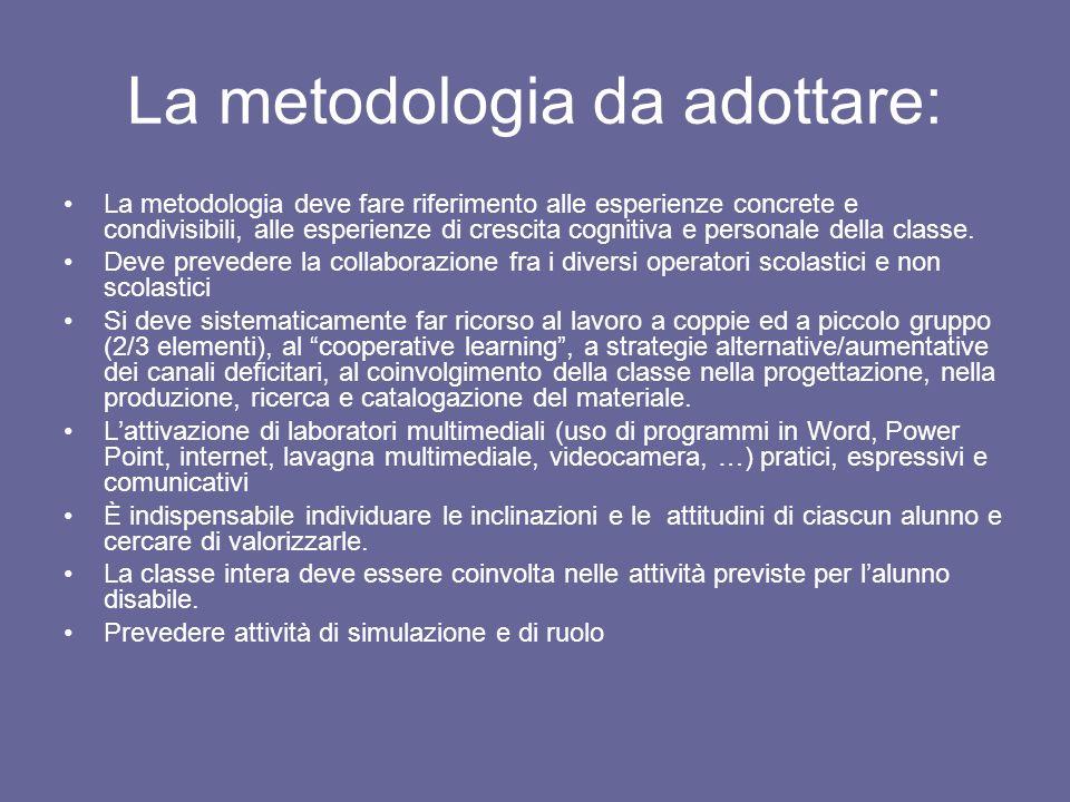 La metodologia da adottare: La metodologia deve fare riferimento alle esperienze concrete e condivisibili, alle esperienze di crescita cognitiva e per