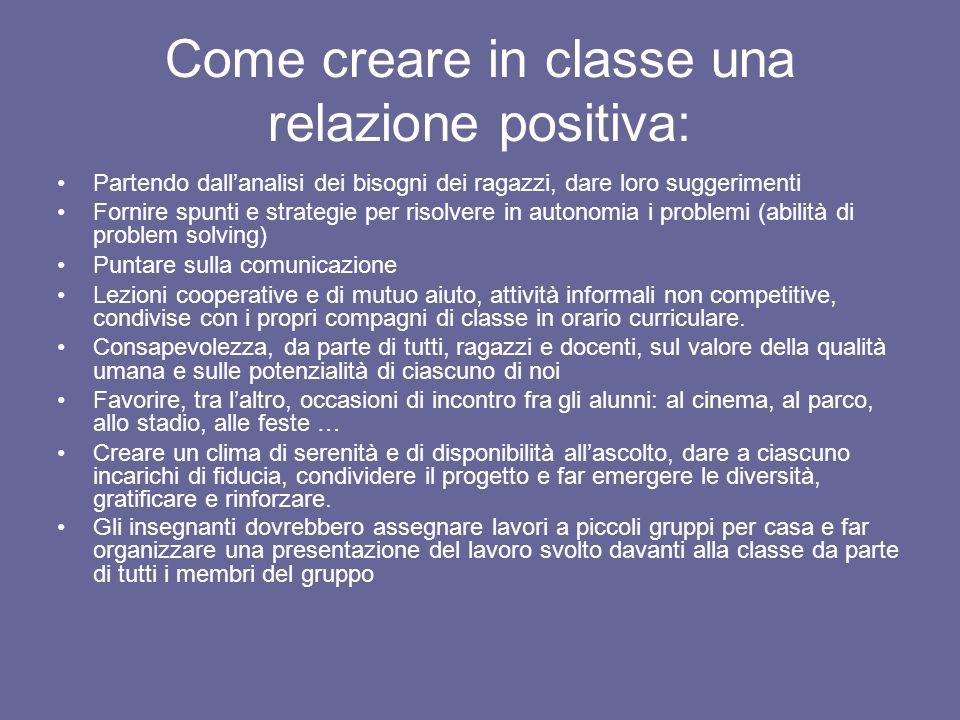 Come creare in classe una relazione positiva: Partendo dallanalisi dei bisogni dei ragazzi, dare loro suggerimenti Fornire spunti e strategie per riso