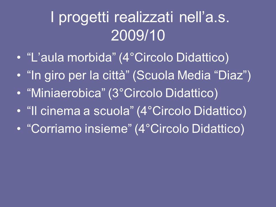 I progetti realizzati nella.s. 2009/10 Laula morbida (4°Circolo Didattico) In giro per la città (Scuola Media Diaz) Miniaerobica (3°Circolo Didattico)