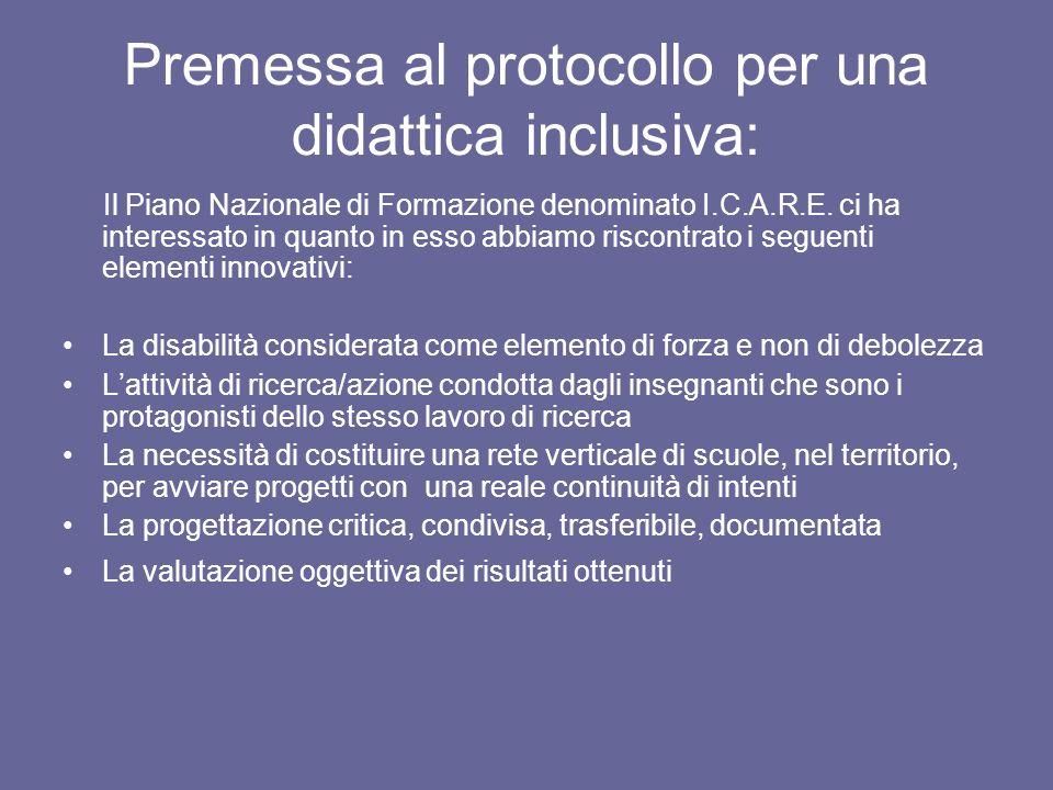 Premessa al protocollo per una didattica inclusiva: Il Piano Nazionale di Formazione denominato I.C.A.R.E. ci ha interessato in quanto in esso abbiamo