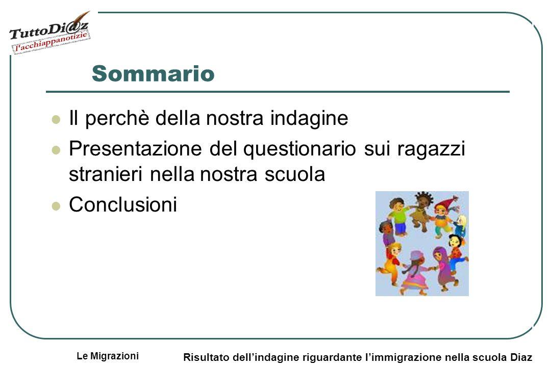Le Migrazioni Risultato dellindagine riguardante limmigrazione nella scuola Diaz Sommario Il perchè della nostra indagine Presentazione del questionario sui ragazzi stranieri nella nostra scuola Conclusioni