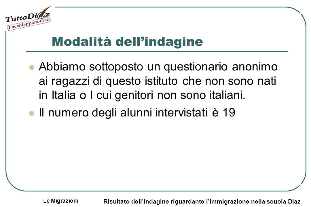 Le Migrazioni Risultato dellindagine riguardante limmigrazione nella scuola Diaz Modalità dellindagine Abbiamo sottoposto un questionario anonimo ai ragazzi di questo istituto che non sono nati in Italia o I cui genitori non sono italiani.