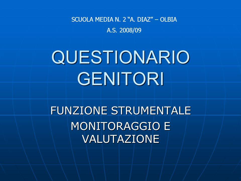 QUESTIONARIO GENITORI FUNZIONE STRUMENTALE MONITORAGGIO E VALUTAZIONE SCUOLA MEDIA N.