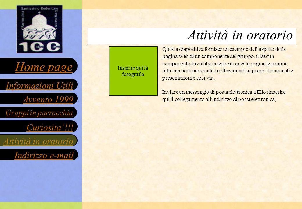Avvento 1999 Gruppi in parrocchia Curiosita!!.