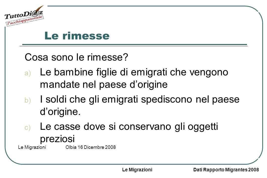Le Migrazioni Dati Rapporto Migrantes 2008 Le Migrazioni Olbia 16 Dicembre 2008 Le fasce detà degli italiani allestero Più della metà degli italiani a