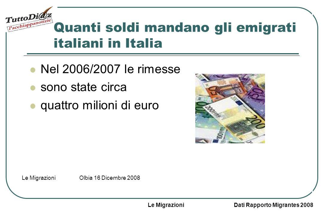Le Migrazioni Dati Rapporto Migrantes 2008 Le Migrazioni Olbia 16 Dicembre 2008 Le rimesse Cosa sono le rimesse.