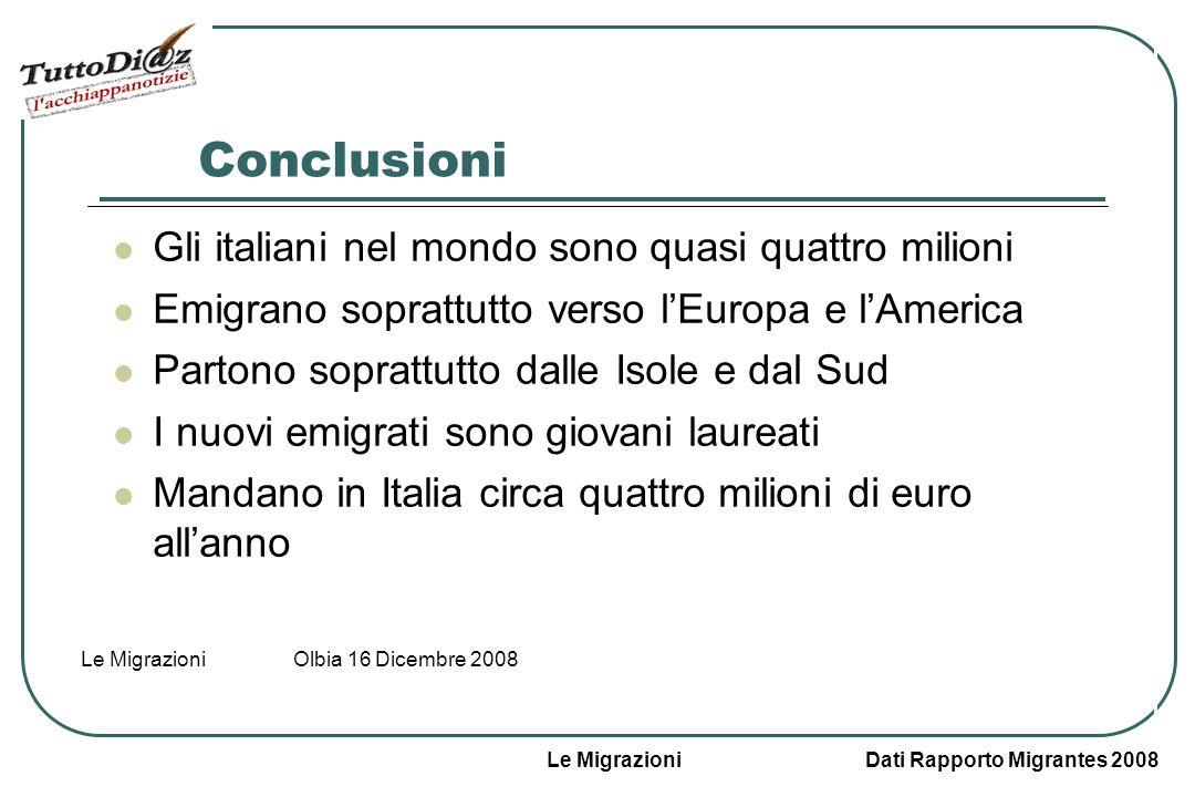 Le Migrazioni Dati Rapporto Migrantes 2008 Le Migrazioni Olbia 16 Dicembre 2008 Quanti soldi mandano gli emigrati italiani in Italia Nel 2006/2007 le rimesse sono state circa quattro milioni di euro