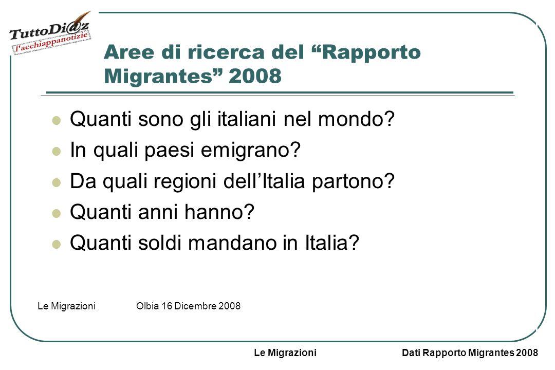 Le Migrazioni Dati Rapporto Migrantes 2008 Le Migrazioni Olbia 16 Dicembre 2008 Aree di ricerca del Rapporto Migrantes 2008 Quanti sono gli italiani nel mondo.