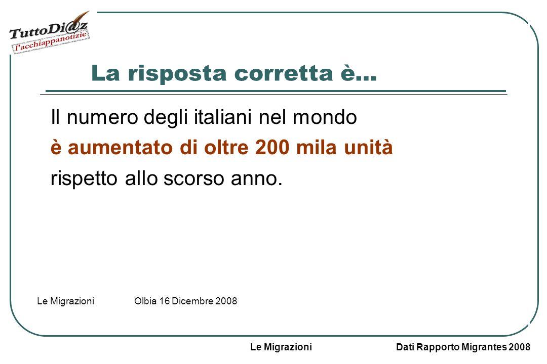 Le Migrazioni Dati Rapporto Migrantes 2008 Le Migrazioni Olbia 16 Dicembre 2008 La risposta corretta è… Il numero degli italiani nel mondo è aumentato di oltre 200 mila unità rispetto allo scorso anno.