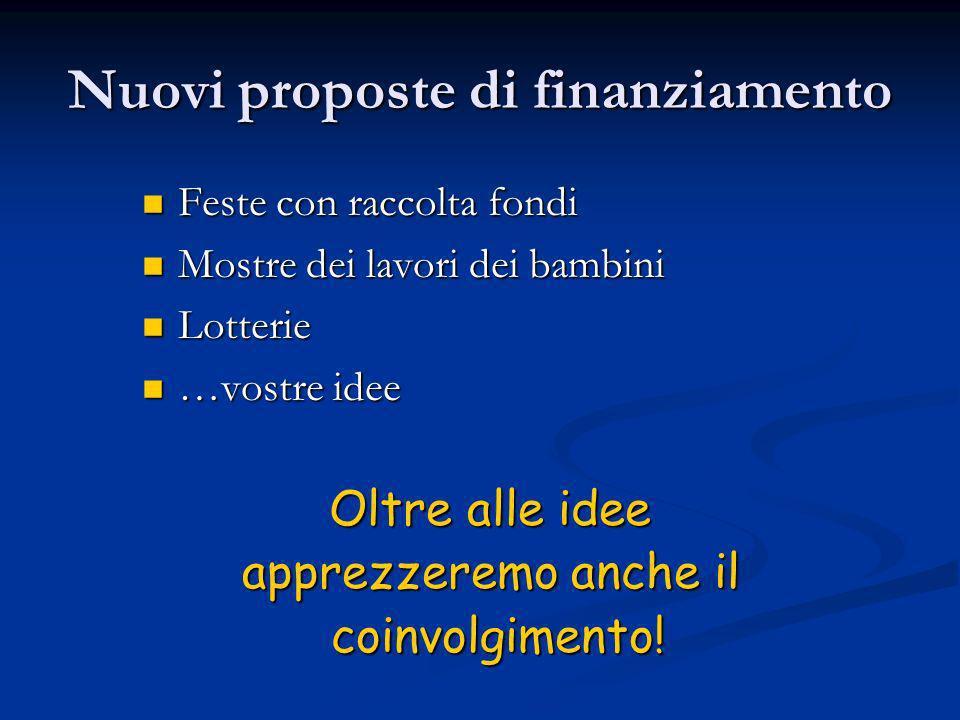 Nuovi proposte di finanziamento Feste con raccolta fondi Feste con raccolta fondi Mostre dei lavori dei bambini Mostre dei lavori dei bambini Lotterie