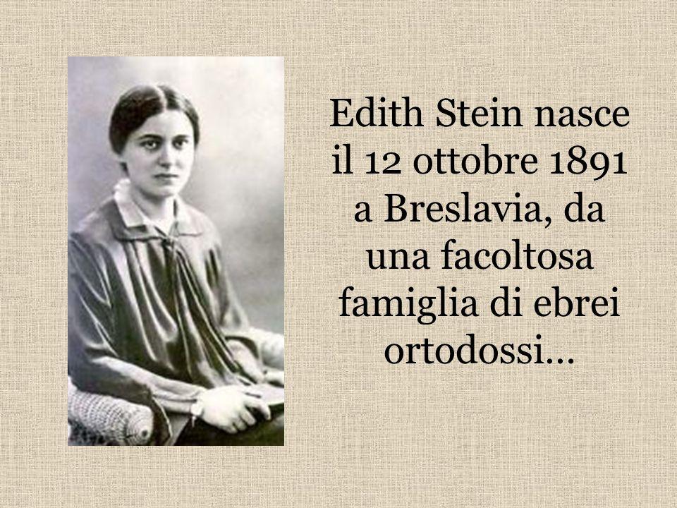 Edith Stein nasce il 12 ottobre 1891 a Breslavia, da una facoltosa famiglia di ebrei ortodossi…